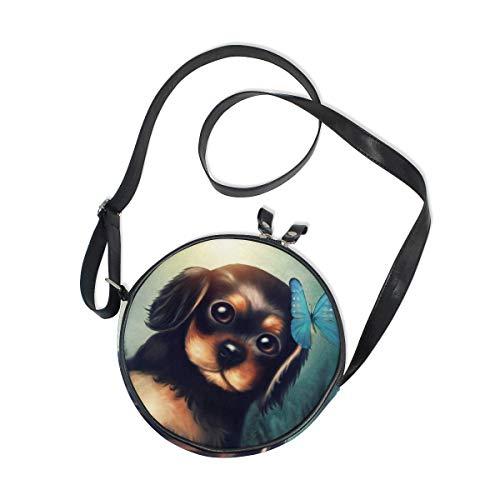 Pequeño perrito con mariposa bolso bandolera redondo bolso bandolera