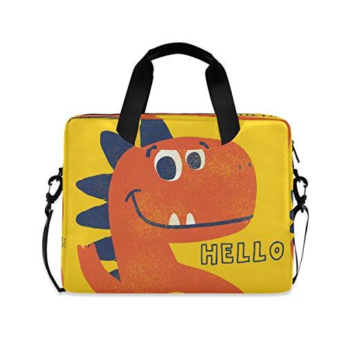 YKMUSTwin Hello Cute Animal Dinosaur 13-15.6 Inch Laptop Shoulder Messenger Bag Laptop Case Sleeve with Strap Computer Briefcase for Women Men Boy Girls