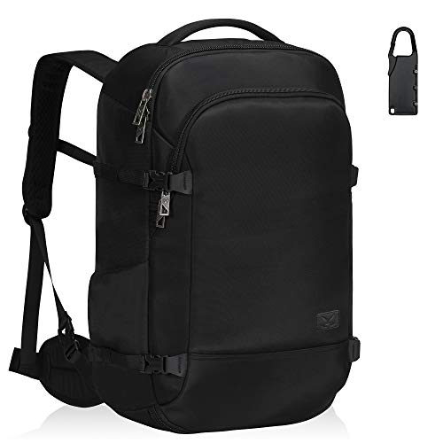 Hynes Eagle Cabin Backpack Anti-Theft Weekend Backpack Flight Approved Hand Luggage Backpack with 1 Luggage Lock for Airplane Cabin Bag 45L Black