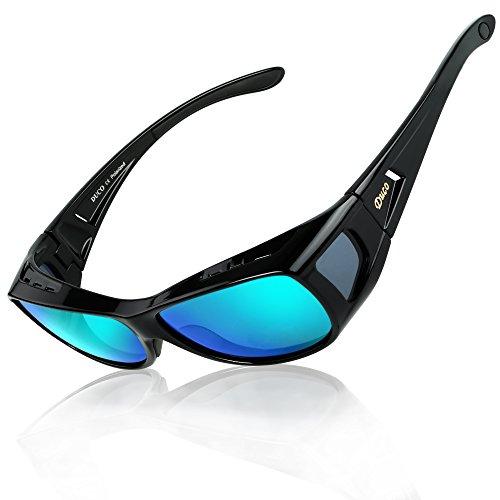 DUCO Herren und Damen Sonnenbrillen Polarisiert Unisex Brille Überbrille für Brillenträger Fit-over Polbrille 8953 (M-Schwarz, Revo Blau)