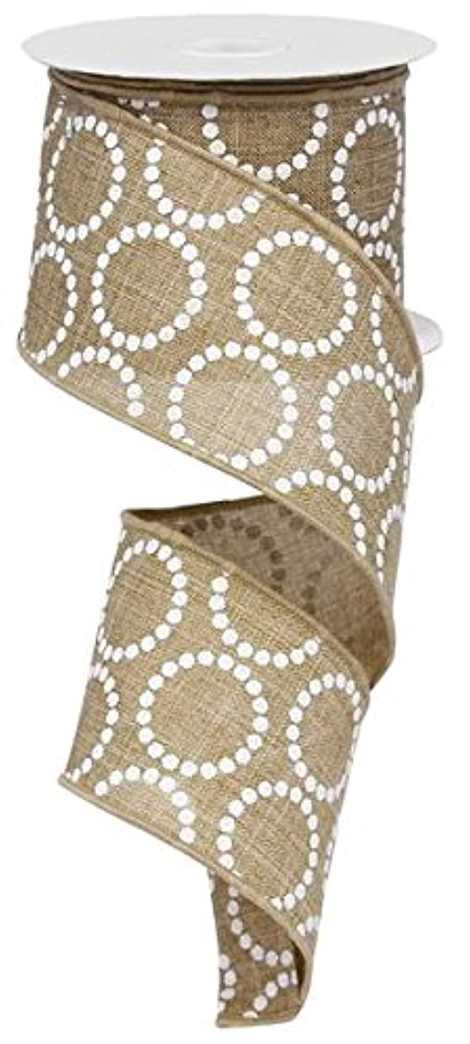 Light Beige White Pearl Beads Burlap Canvas Wired Ribbon (2.5 Inches x 10 Yards) : RG01306XR