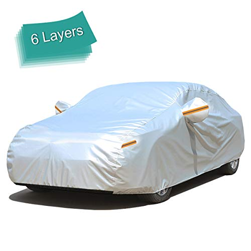 GUNHYI Car Cover Waterproof All Weather for Automobiles, 6 Layer Heavy Duty Outdoor Cover, Sun Rain Uv Protection, Fit Sedan (Length 182-191inch)