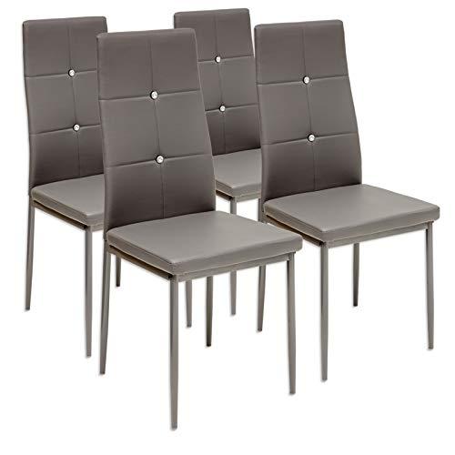 Albatros 3096 Diamond Set de 4 sillas de Comedor, Gris, SGS Tested