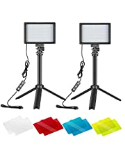 Neewer Zestaw 2 sztuk oświetlenia do fotografii przenośnej z możliwością ściemniania 5600 K USB 66 LED lampa wideo z mini statywem i filtrami kolorowymi do fotografowania/wykonywania filmów z niskim kątem