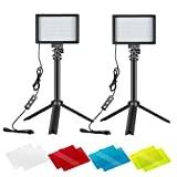 Neewer 2 Packs Kit Iluminación Fotografía Portátil Regulable 5600K USB 66 Luz Video LED...
