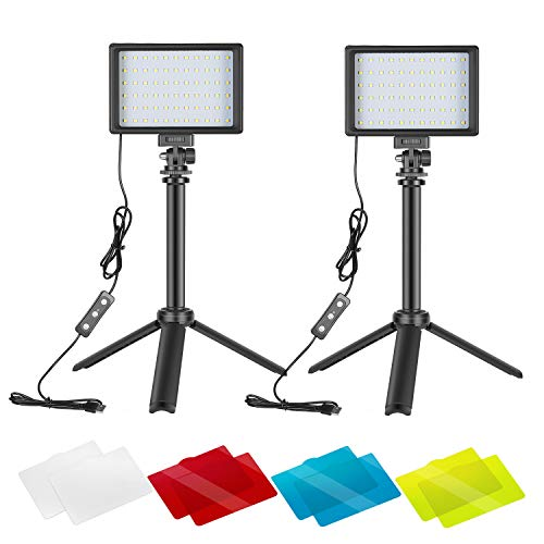 Neewer 2 Packs Portable Photography Lighting Kit Dimmable 5600K USB 66 LED Video Light with Mini Adjustable Tripod Stand and Color Filters for Table Top/Low Angle Photo Video Studio Shooting