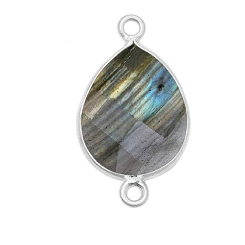 2 Pcs Labradorite Natural Pear, Teardrop 22X30MM 925 Sterling Silver Handmade Bezel Charms Links Connector Pendant Bail DIY Jewelry Making Earrings Bracelet Necklace Crystal Birthstone Accessories