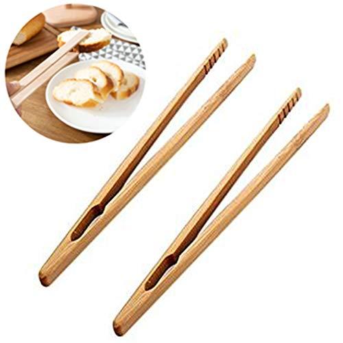 2X Oyfel Pinza bambú Madera naturales Pinza pan pinzas