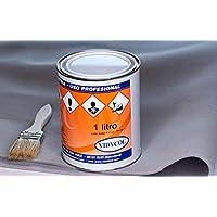 Kit tela para tapizar techo de coche, pegamento alta temperatura y brocha (GRATIS). Tejido gris claro foamizado de 2 METROS de largo x 1,50m de ancho. 1 litro de cola y pincel para aplicarlo