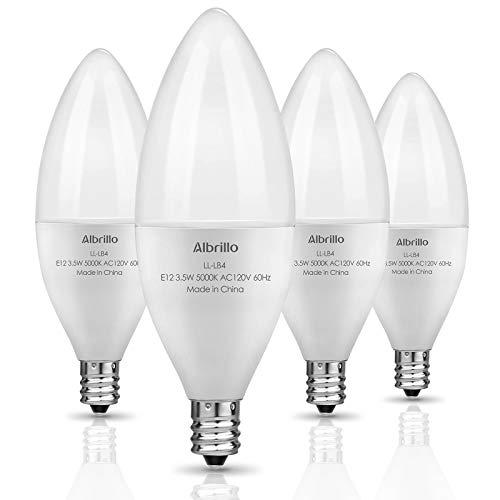 E12 LED Bulb, Albrillo 4 Watt Led Light Bulbs 40W Equivalent Non-Dimmable Candelabra Led Lights Bulb 5000K for Ceiling Fan Light Bulbs, Small Base Chandelier Lights, 4 Pack