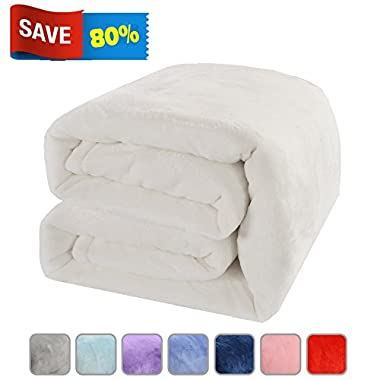 LBRO2M Fleece Bed Blanket Super Soft Warm Fuzzy Velvet Plush Throw Lightweight Cozy Couch Blankets Queen(90-Inch-by-90-Inch) Ivory