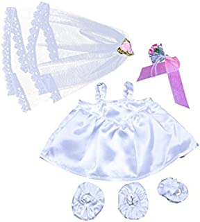 """Bride Outfit with Veil and Bouquet Fits Most 8""""-10"""" Webkinz, Shining Star and 8""""-10"""" Make Your Own Stuffed Animals and Build-A-Bear"""