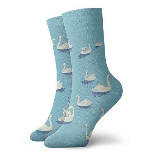 AORSTAR Calcetines de compresi¨®n Socks Breathable Swan White Goose Crew Sock Exotic Modern Women & Men Printed Sport Athletic Socks 11.8in