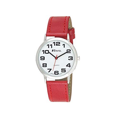 Ravel - orologio con cinturino unisex di facile lettura con grandi numeri - Quadrante rossa/argento tono/bianco