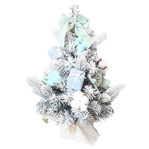 NYKK Christmas Tree Mini Artificial Christmas Tree, Snowflake Fir Tree With Blue Bow And Gift Box Pendant Christmas Girl Room Decorations (Two Sizes) (Color : A)