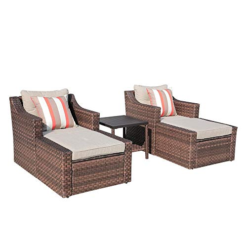 Unknown1 Outdoor Furniture Sofa Set 5-Piece Brown Wicker Lounge Chair Ottoman with Cushions Side Table W/Aluminum Top Modern Contemporary Weather Resistant
