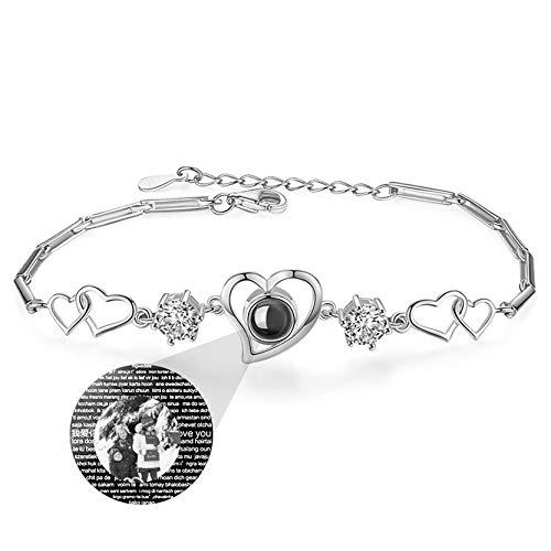 Yanday Love Memory Photo Bracelet Personalized Projection Bracelet 100 Different Languages I Love You Bracelet Customized Bangle(Silver Black and White)