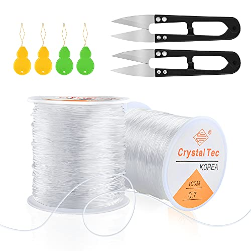 Worldity 0.7, 0.8, 1mm Elastic String for Bracelets, 3 Rolls Clear Sturdy Elastic Cord for Making Jewelry, Necklaces, Beads with 4Pcs Beaded Needle and 2Pcs Thread Clippers(100m)