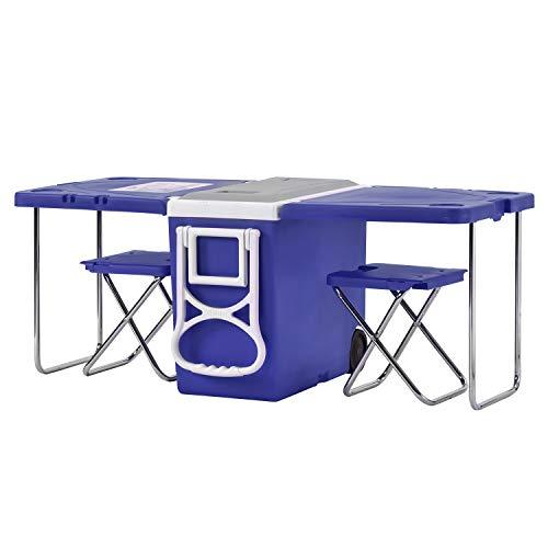 BTM koelbox op wielen, grote picknick tafel voor camping/strand/BBQ/vissen/familie uitbreidbaar & opvouwbare tafel met 2 krukken 28L (45-kan)