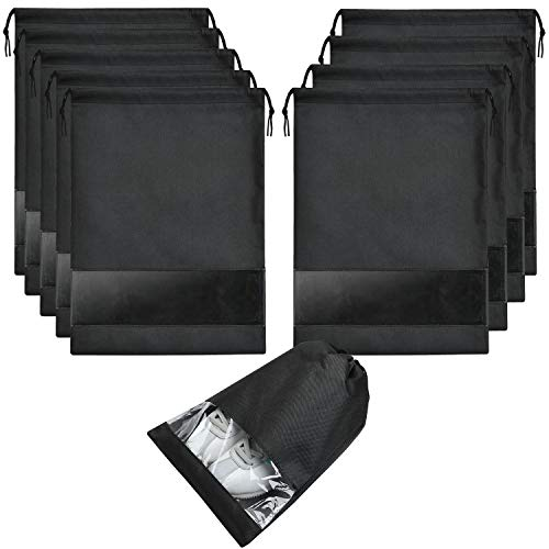 SPIKG 10 pcs Shoe bags for Travel Storage Dust-Proof Drawstring with Window (Black)
