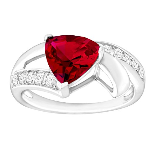 3 1/4 ct Created Ruby & White Sapphire Trillion Ring in Sterling Silver, Size 7