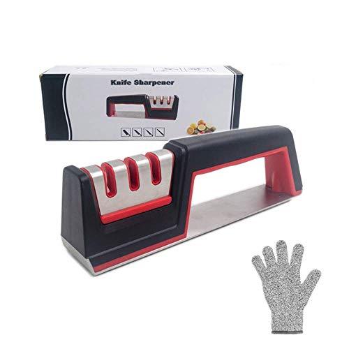 Voarge messenslijper, 3 niveaus, slijpgereedschap, ideaal voor roestvrij stalen messen van alle maten, keukenhulp, met een paar snijbestendige handschoenen