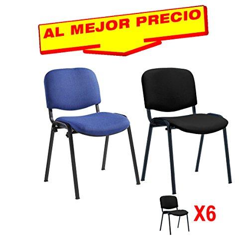 PACK 6 SILLAS PRÁCTICA CONFIDENTE/ESPERA OFICINA Y CONFERENCIA DISEÑO CLÁSICO-OFERTAS HOGAR Y OFICINA -ÚLTIMAS UNIDADES - DISPONIBLE EN VARIOS COLORES (Azul)