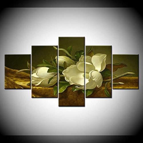 Pintura En Lienzo Flor De Magnolia En Terciopelo Dorado 5 Piezas Pintura De Arte De Pared Fondos De Pantalla Modulares Póster Impresión Sala De Estar Decoración del Hogar(Enmarcado)