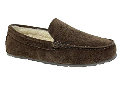 Clarks Mens Suede Moccasin Slippers Warm Cozy Indoor Outdoor Plush Faux Fur Lined Slipper for Men (8 M US, Dark Brown)