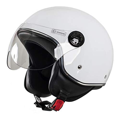 MONACO Jet-Helm mit Visier, Retro Pilot-Helm für Brillen-Träger, Roller-Helm für Frauen und Herren im Vintage-Look, Motorrad-Helm, weiß, Qualität nach ECE-Norm, L
