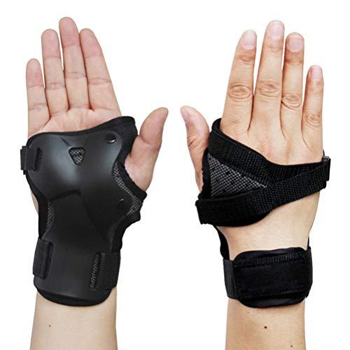 NEWMAN771Her 1 paire de protège-poignets résistants aux chocs, équipement de protection, repose-poignet pour skate, skateboard, ski, snowboard, Noir , Large