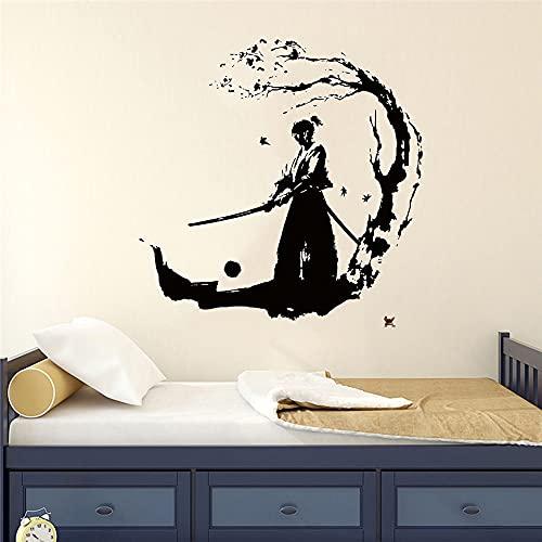 GOSTER Ninja vinilo adhesivo Samurai para pared, diseño de guerrero para niños, decoración del hogar, decoración de habitación, papel pintado de arte extraíble, 42 x 44 cm