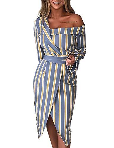 HX fashion Damesblousejurk Elegante Streep Onregelmatige Blousejurk Comfortabele Maten Met Één Schouder Lange Mouw Slim Fit Unieke Mode Shirtjurk Casual Jurken