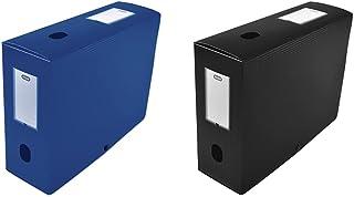 Elba 400094575 Boîte de classement à monter dos 100 mm polypropylène opaque 24 x 32 cm Bleu & 400094574 Boîte de classemen...