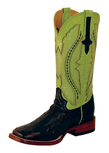 Ferrini Women's Full Quill Ostrich Cowgirl Boot Wide Square Toe Black 7.5 M US