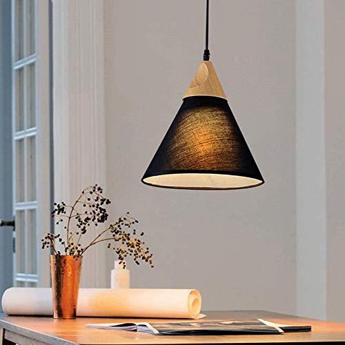 Luces de techo Madera interior Colgante Luz 3 Luces Comedor Tela Lámpara de cena Lámpara Lámpara Textil Lámpara Lámpara Ajustable Colgante Lámpara de madera para barra Cocina Sala de estar Luz de tech