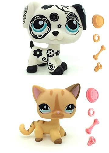WooMax Littlest Pet Shop LPS Juguete Perro Pintado + Gato de Rayas de Diamante con 8 Piezas de...