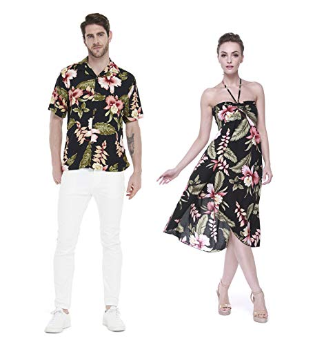 Hawaii Hangover Pareja Juego Hawaiano Luau Fiesta Traje Conjunto Camisa Vestido de Negro Rafelsia Hombres XL Mujer XL