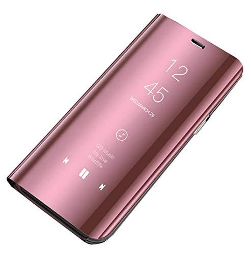 Funda de piel para Galaxy J7 2016, J710, funda con espejo, funda con tapa para J7 2016, función atril para Samsung Galaxy J7 2016/J710 (oro rosa, J7 2016)