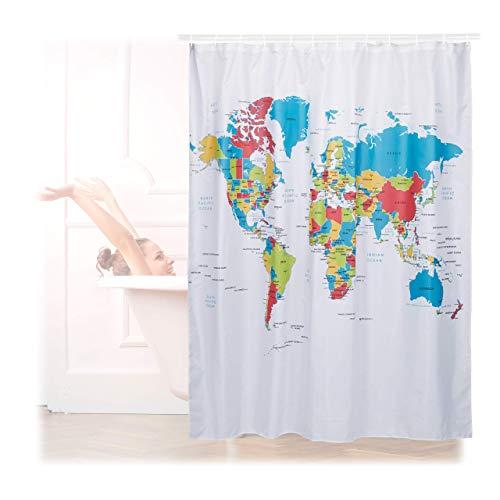 Relaxdays Duschvorhang Weltkarte, Polyester, wasserabweisend, waschbar, Anti-Schimmel, Badewannenvorhang 180x180cm, bunt