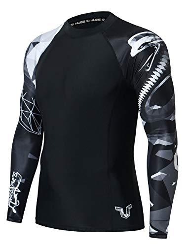 ADOREISM Men's Long Sleeve Rash GuardCompression Quick-Dry Lightweight UPF 50+ Swimsuit Swim Shirt Athletic Gym MMA BJJ Rashguard for Men(Cobra,L)