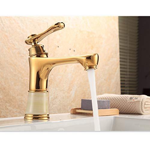 Grifo Grifos de lavabo Jade clásico Acabado antiguo Latón Grifo del lavabo del baño Orificio de una sola manija Montaje en cubierta Mezclador de agua fría y caliente