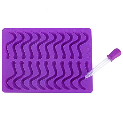 Wacent 20 Fächer Gummiwürmer Silikonform, Nützliche Küche Küchenmaschine Prozessor Werkzeug & Küchengeschirr für Praline Gummibärchen Kuchen mit Tropfer