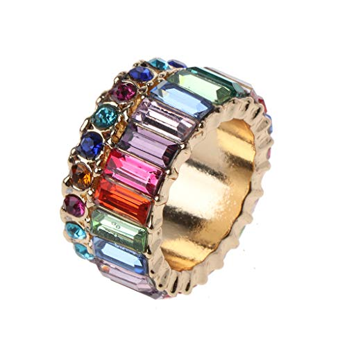 holilest Ring, Cubic Zirconia Ring Rainbow Crystals Baguette Band Ring Stackable Eternity Bands-1