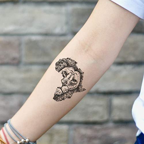 African Lion Temporary Tattoo Sticker (Set of 2) - www.ohmytat.com