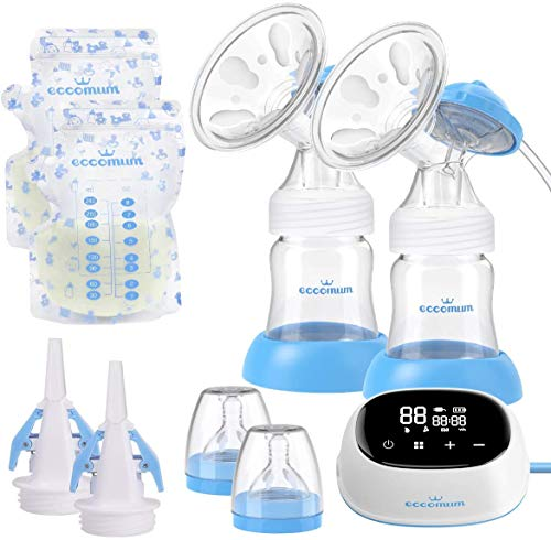 Electric Double Breast Pump Eccomum Breastfeeding Pump with 4 Modes & 9...