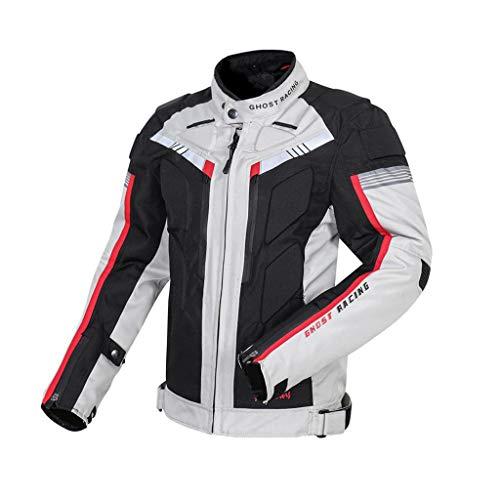 PETSOLA Chaqueta Impermeable para Moto 600D Oxford para Todo Tipo de Clima Impermeable Nuevo - Negro + Blanco frío, Metro