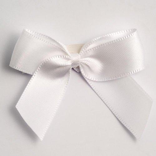 Satin-Schleifen, selbstklebend, 5 cm, Weiß, 12er-Pack