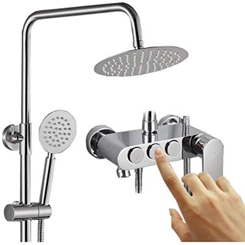 Juego de ducha con llave oculta de cobre completo de tres velocidades grifo de ducha Booster top Spray ducha