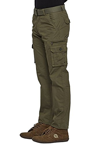 Verticals Men's Cotton Cargo Pants(plainopen-green_30)